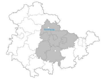 Thüringenkarte - hervorgehoben sind der Landkreis Saalfeld-Rudolstadt, der Ilm-Kreis, der Saale-Holzland-Kreis, der Landkreis Sömmerda, der Landkreis Weimarer Land sowie die Städte Erfurt, Weimar und Jena.