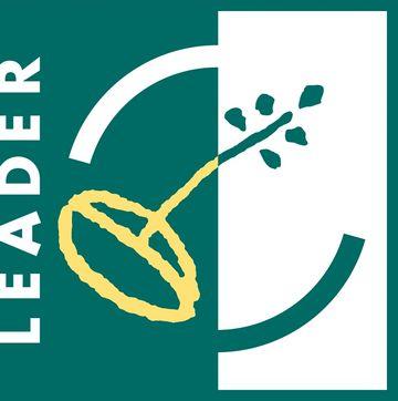 zu sehen ist das Logo des Förderprogrammes, das durch einen Keimling und den LEADER-Schriftzug verkörpert wird