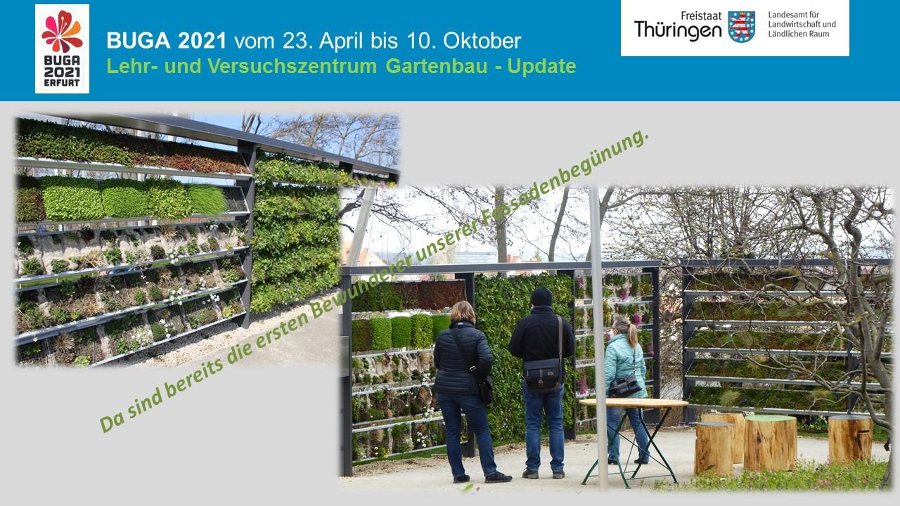 Besucher und Mitarbeiter im Ausstellungsgarten des LVG auf der Buga - Situationsbilder vom Verlauf im April