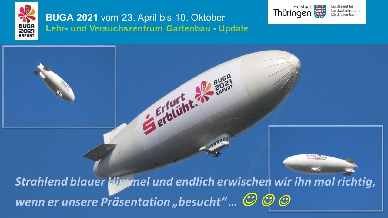 Aufnahme vom Buga-Zeppelin in der Luft