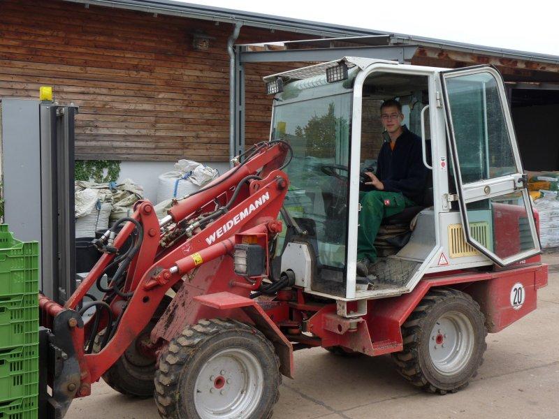 Azubi mit Stapler beim Kisteentransport für die Ernte von Äpfeln