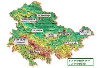 Aktuelle Feldversuchsstandorte Thüringen